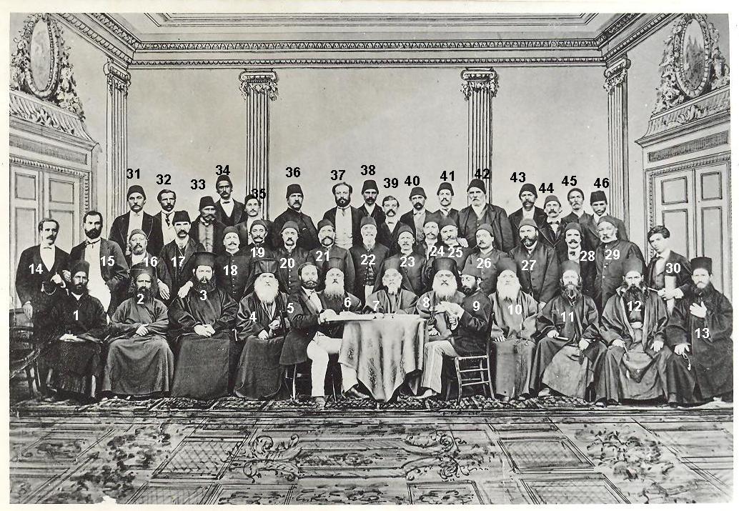 Обща снимка на делегатите на Събора в Цариград от 24 юли 1871 година. Марко Балабанов е на първия ред (№5)