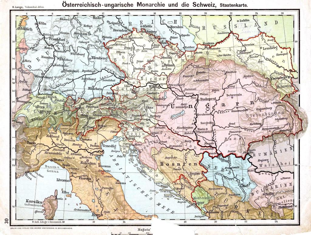 Австро-Унгария и Сърбия на политическата карта от 1899 г.