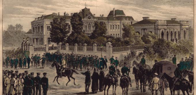 Дворецът на княз Александър I Батенберг, където е арестуван (гравюра от неизвестен автор)