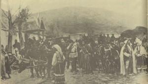 Българската-войска-влиза-в-сръбско-село-1885г
